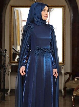 Petrol - Fully Lined - Crew neck - Chiffon - Satin - Muslim Evening Dress