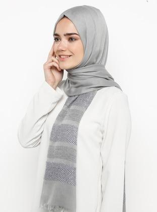 Gray - Silver tone - Plain - Pashmina - Viscose - Shawl