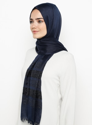 Navy Blue - Plain - Pashmina - Viscose - Shawl