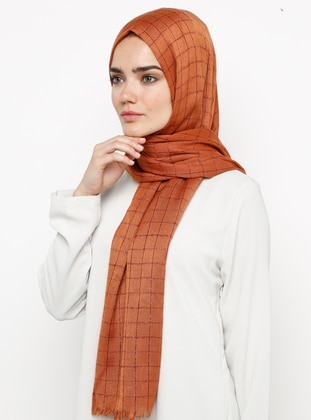 Terra Cotta - Plain - Plaid - Pashmina - Viscose - Shawl