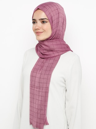 Pink - Plain - Plaid - Pashmina - Viscose - Shawl