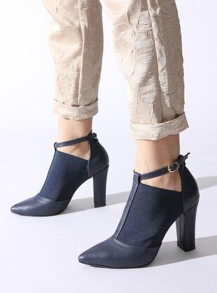 Navy Blue - High Heel - Boots