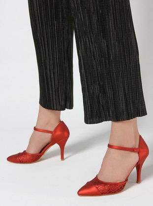 Red - High Heel - Satin - Shoes