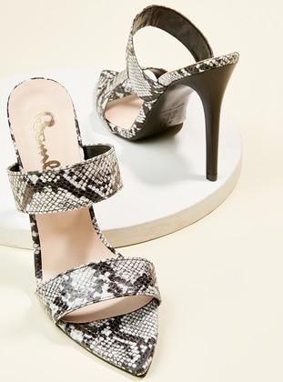 Black - White - High Heel - Sandal - Slippers