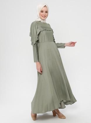 Green Almond - Crew neck - Unlined - Cotton - Viscose - Dress
