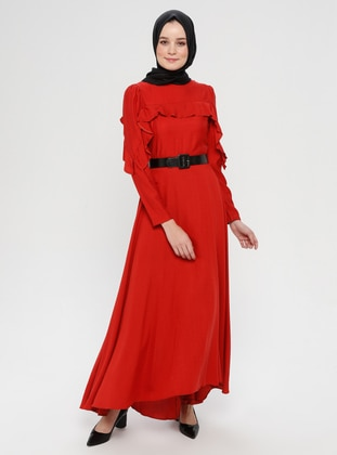 Coral - Coral - Crew neck - Unlined - Cotton - Viscose - Dress