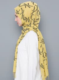 Yellow - Printed - Cotton - Shawl