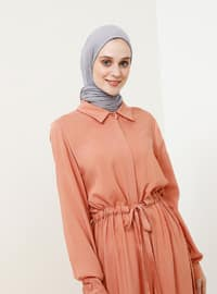 Pink - Point Collar - Unlined - Viscose - Dress