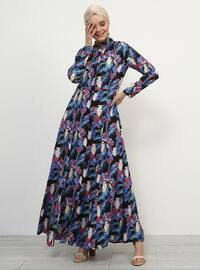 Black - Purple - Multi - Point Collar - Unlined - Viscose - Dress