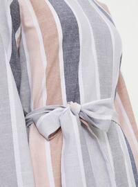 Navy Blue - Beige - Stripe - Point Collar - Unlined - Viscose - Dress