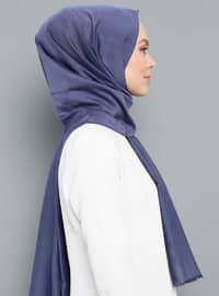 Purple - Plain - Silk Blend - Cotton - Scarf