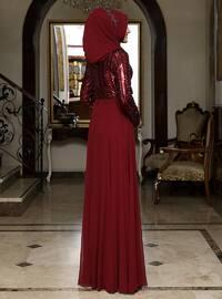 Maroon - Bowtie - Fully Lined - Crew neck - Chiffon - Muslim Evening Dress