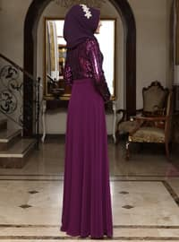 Fuchsia - Bowtie - Fully Lined - Crew neck - Chiffon - Muslim Evening Dress
