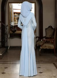 Baby Blue - Fully Lined - Crew neck - Muslim Evening Dress