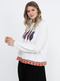 White - Ecru - Multi - Crew neck - Plus Size Blouse