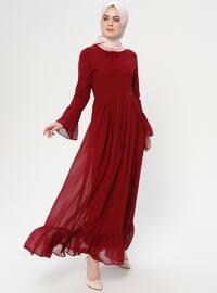 Bordo - Yuvarlak yakalı - Astarlı kumaş - Elbise