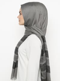 Anthracite - Plain - Pashmina - Viscose - Shawl