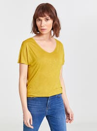 Green - V neck Collar - T-Shirt