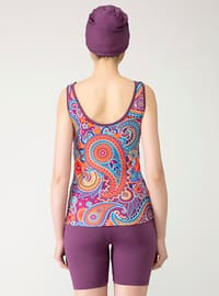 Purple - Multi - Unlined - Half Covered Switsuits
