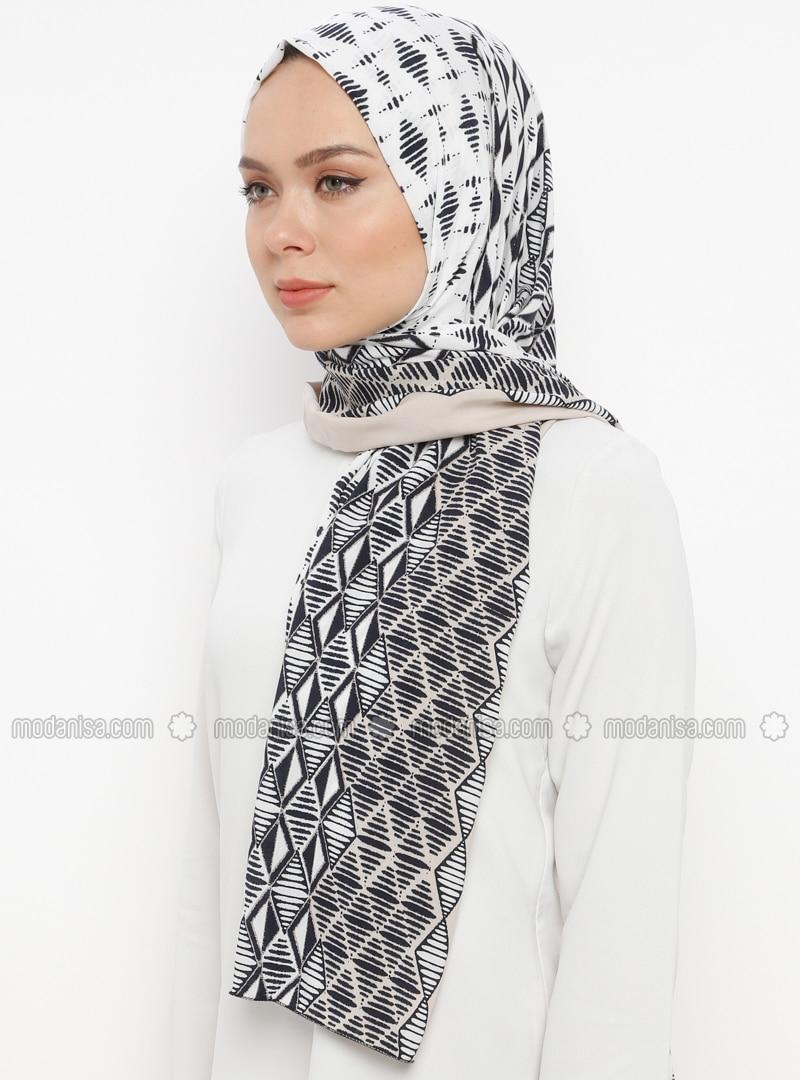 Beige - Printed - Cotton - Shawl