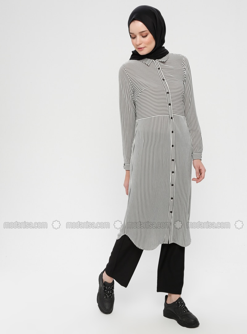 Black - White - Stripe - Button Collar - Tunic