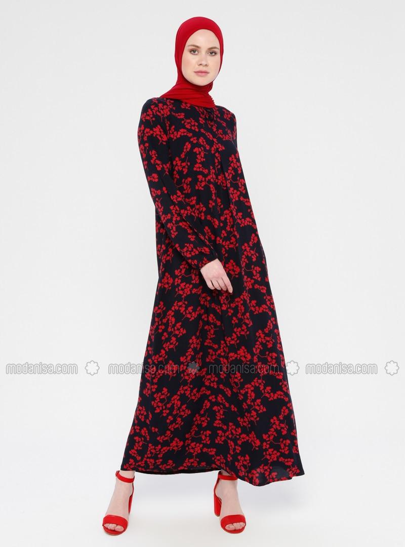 Rot - Schwarz - Bunt - Rundhalsausschnitt - Ohne Innenfutter - Hijab Kleid