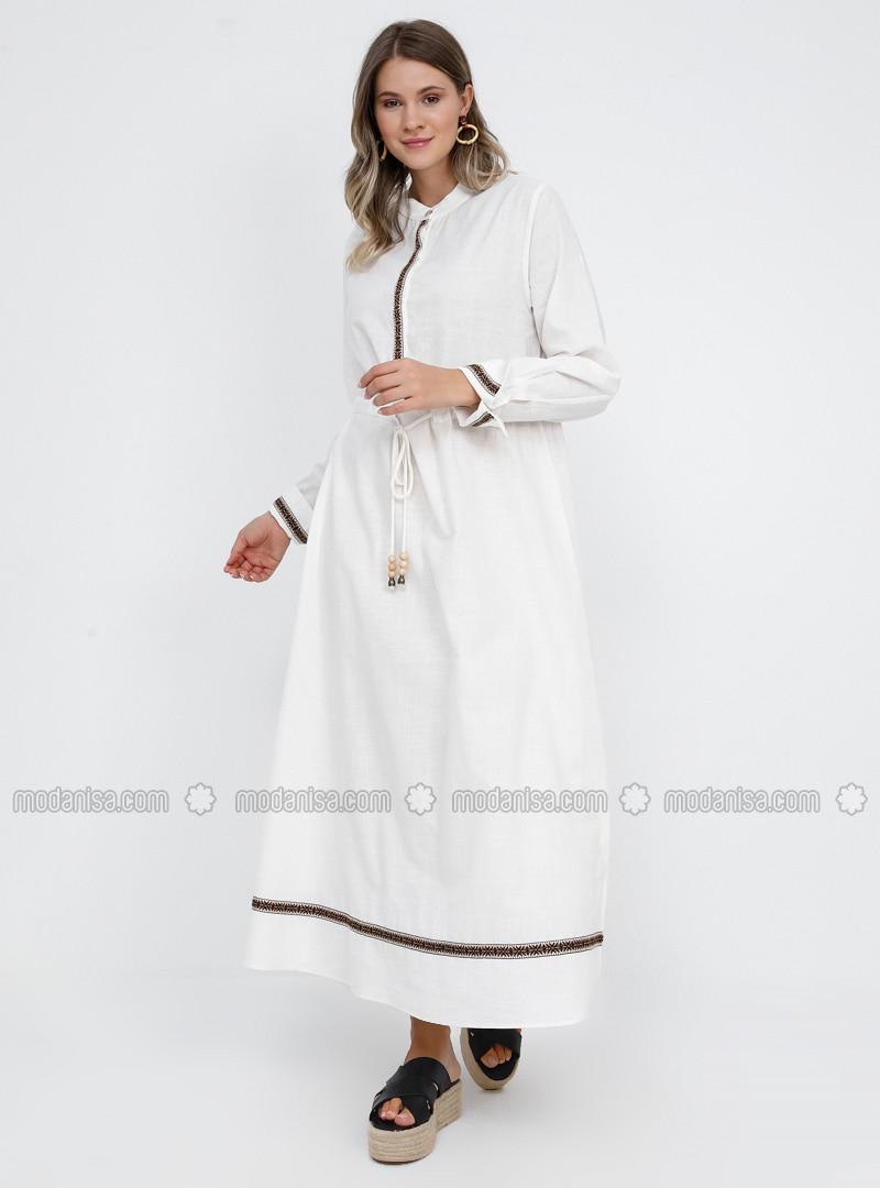 White - Ecru - Button Collar -  - Viscose - Plus Size Dress