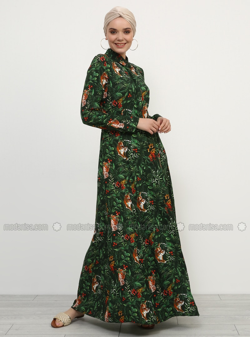 Khaki - Multi - Point Collar - Unlined - Viscose - Dress