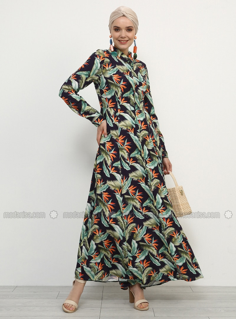 Green - Purple - Floral - Point Collar - Unlined - Viscose - Dress