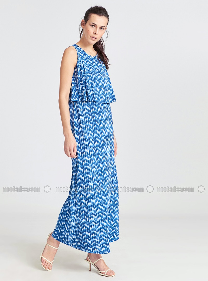 Navy Blue - Printed - Dress