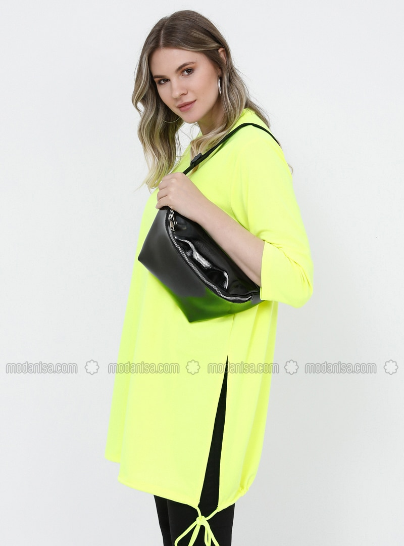 Yellow - Crew neck - Plus Size Tunic