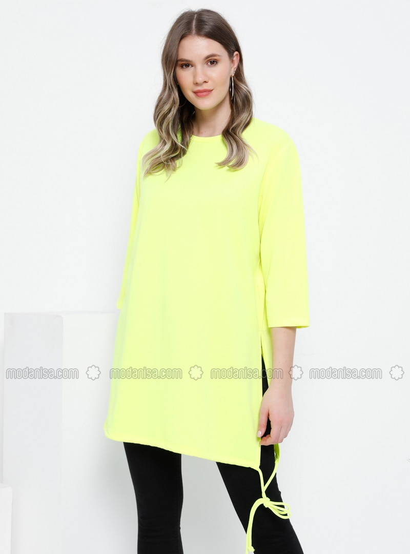 Yellow - Crew neck - Plus Size Tunic
