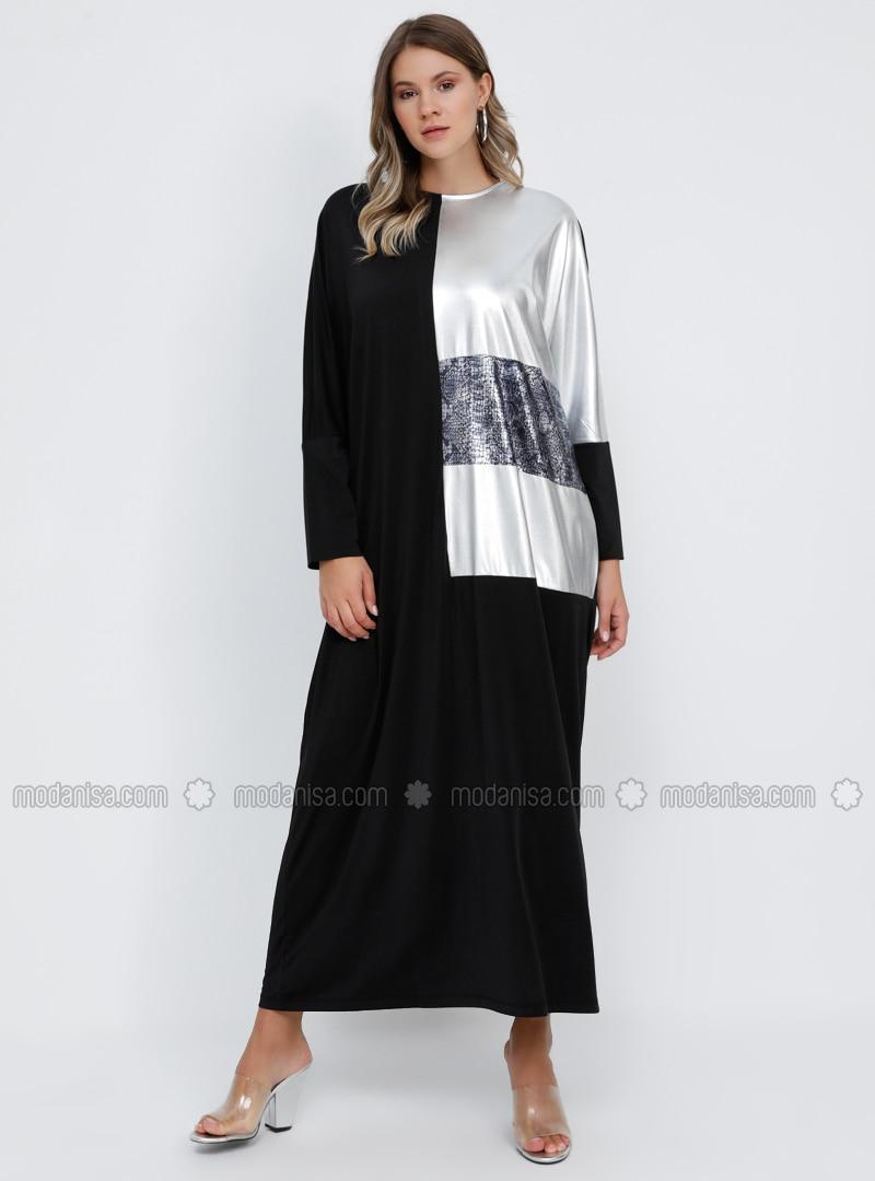 Black - Silver tone - Unlined - Crew neck - Plus Size Dress