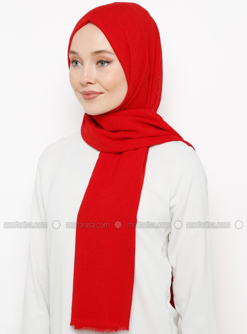 Red - Plain - Shawl