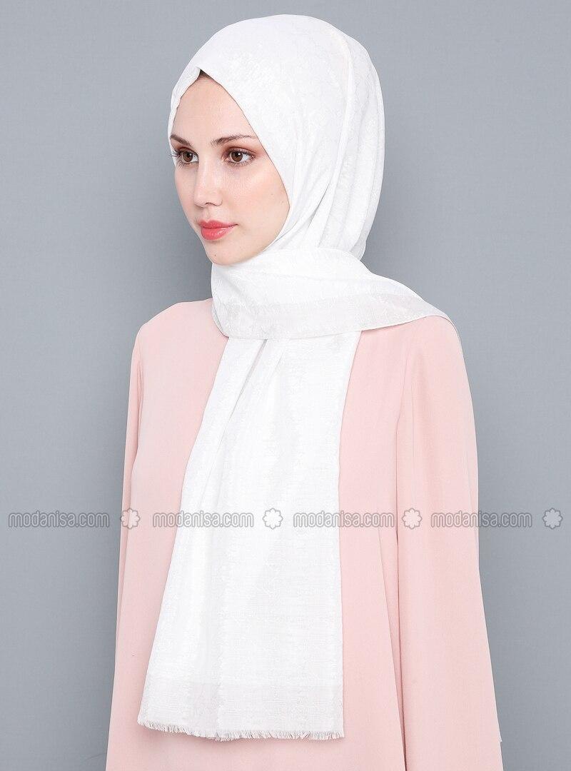 White - Ecru - Plain - %100 Silk - Shawl