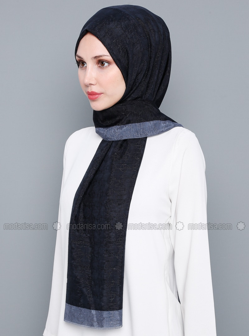 Black - Plain - %100 Silk - Shawl