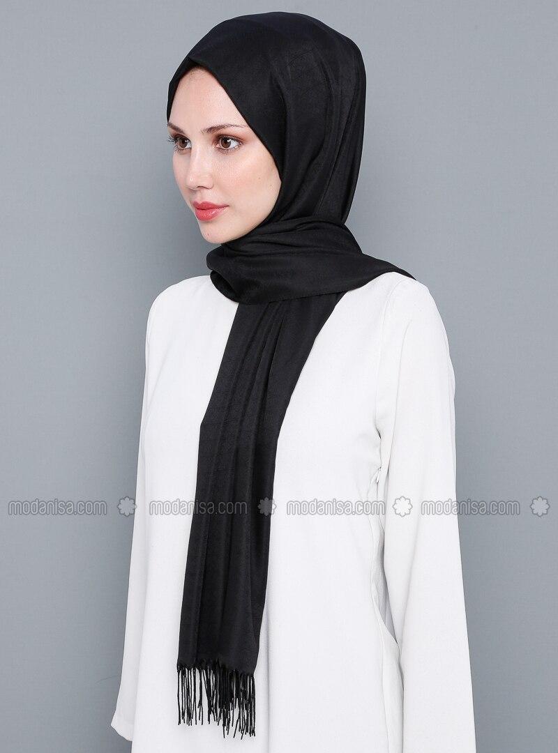 Black - Plain - %100 Silk - Shawl
