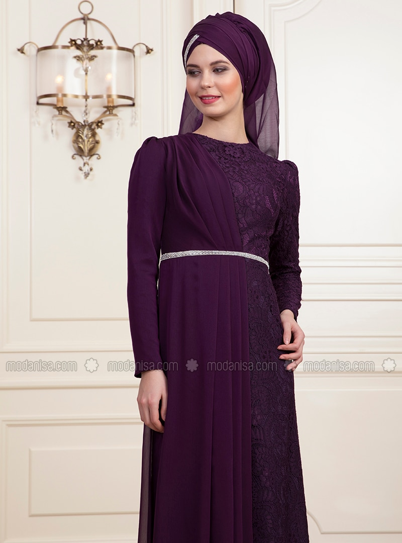 Purple - Fully Lined - Muslim Evening Dress