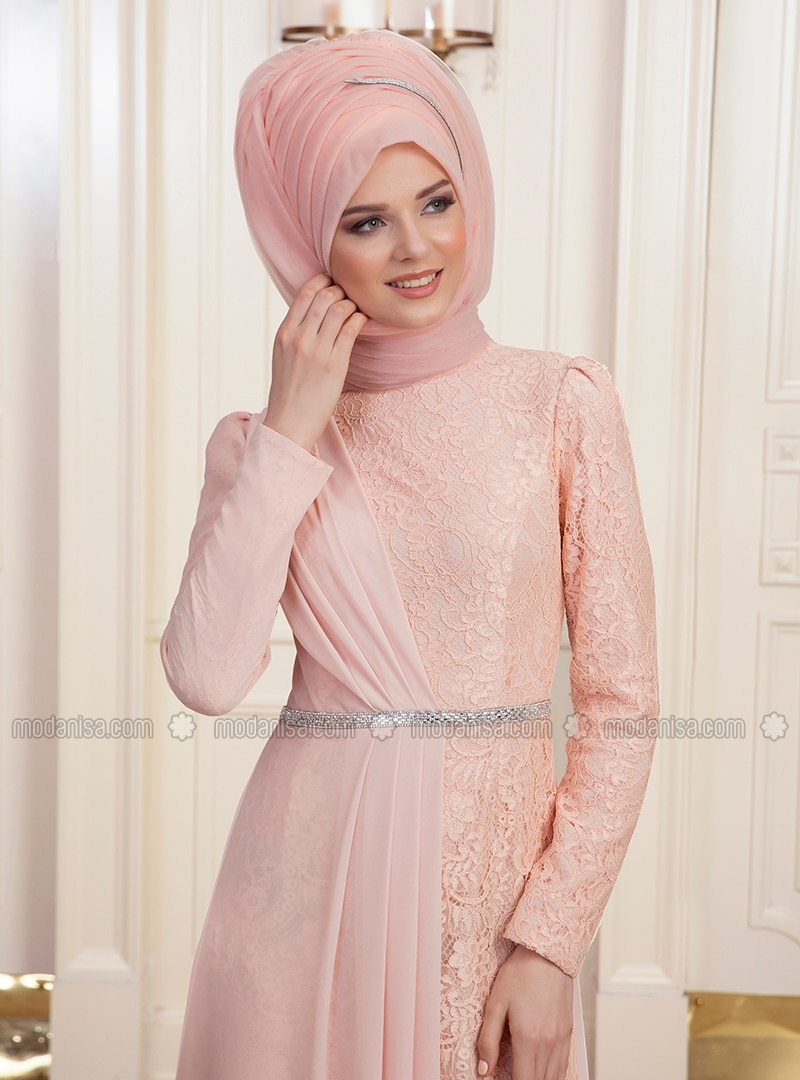 Salmon - Fully Lined - Muslim Evening Dress