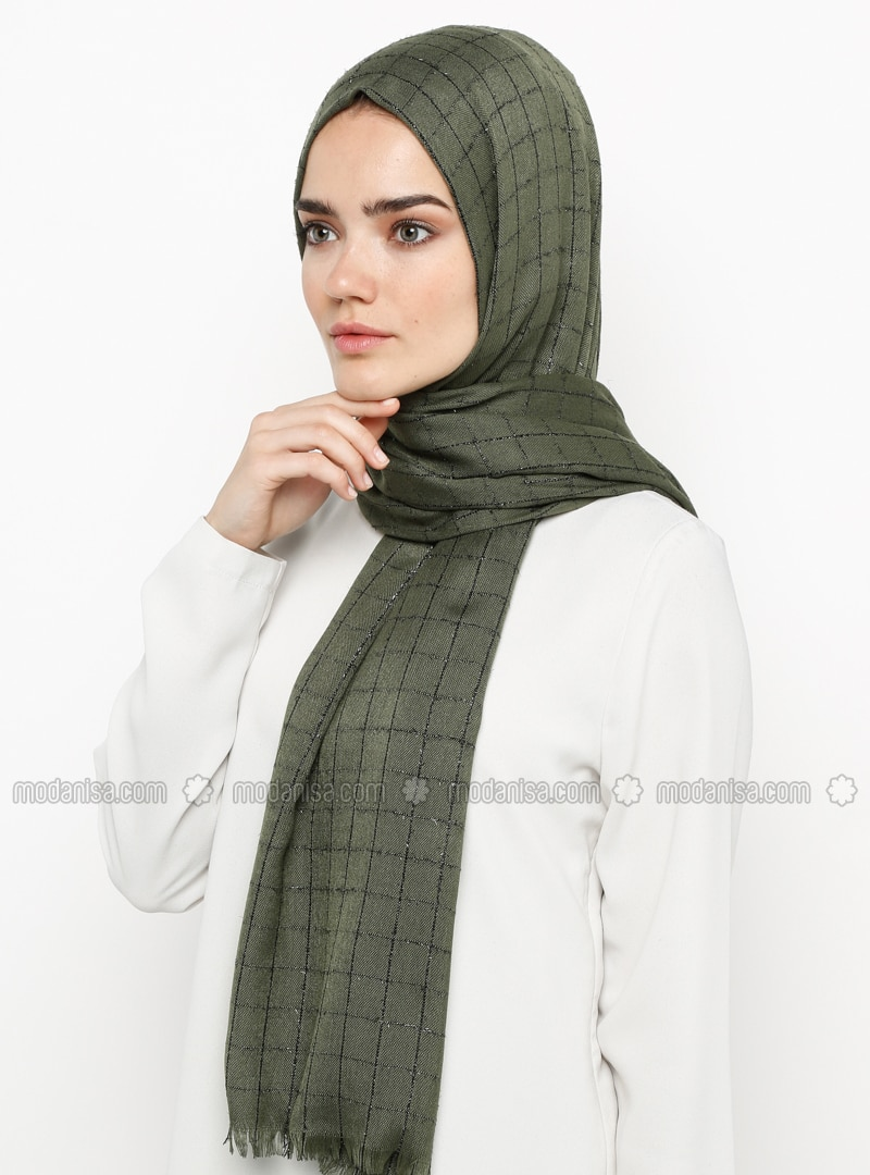 Khaki - Plain - Plaid - Pashmina - Viscose - Shawl