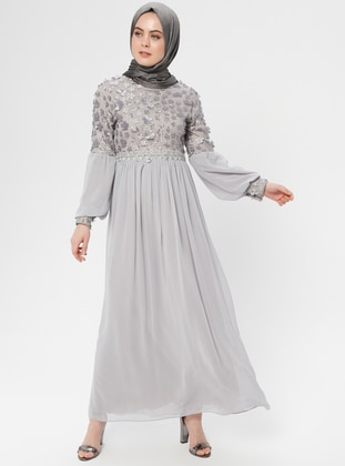 Gray - Floral - Fully Lined - Crew neck - Muslim Evening Dress