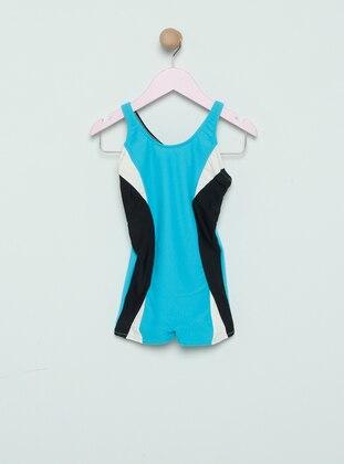 Unlined - Blue - Black - Girls` Swimsuit