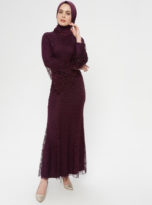Purple - Multi - Fully Lined - Crew neck - Muslim Evening Dress