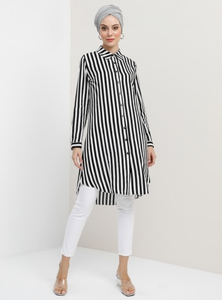 Ecru - Black - Stripe - Point Collar - Viscose - Tunic - Tavin