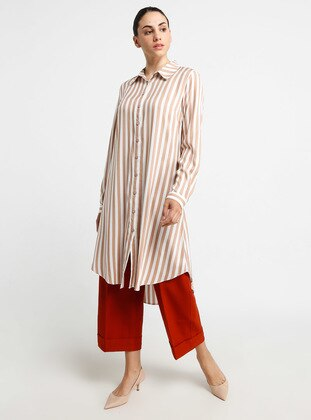 Ecru - Tan - Stripe - Point Collar - Viscose - Tunic