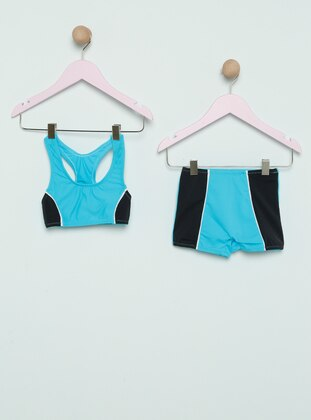 Navy Blue - Turquoise - Girls` Swimsuit