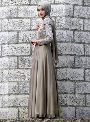Khaki - Fully Lined - Crew neck - Chiffon - Muslim Evening Dress