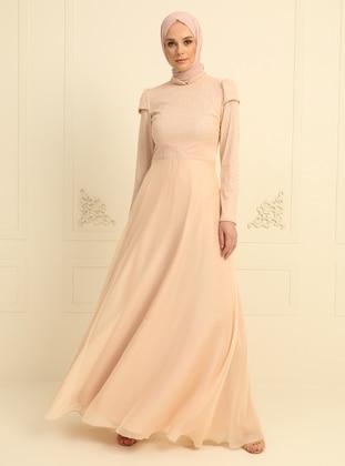 Salmon - Fully Lined - Crew neck - Chiffon - Muslim Evening Dress
