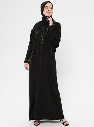 Black - Unlined - Crew neck - Abaya