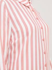 Ecru - Dusty Rose - Stripe - Point Collar - Viscose - Tunic